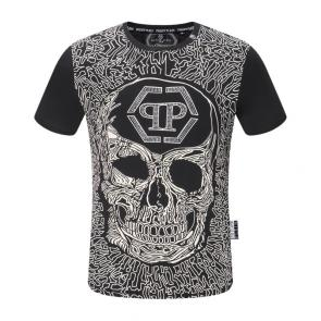 new philipp plein hommes t-shirt crystal qp embellished black